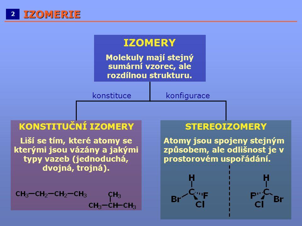 ____________________________________________________ 2IZOMERIE IZOMERY Molekuly mají stejný sumární vzorec, ale rozdílnou strukturu. STEREOIZOMERY Ato