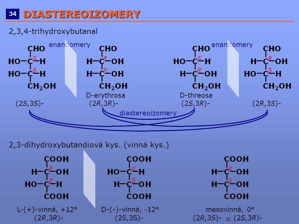 ____________________________________________________ 34DIASTEREOIZOMERY 2,3,4-trihydroxybutanal D-erythrosa D-threosa (2S,3S)- (2R,3R)- (2S,3R)- (2R,3
