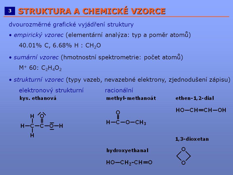 ____________________________________________________ 3 STRUKTURA A CHEMICKÉ VZORCE dvourozměrné grafické vyjádření struktury • empirický vzorec (eleme