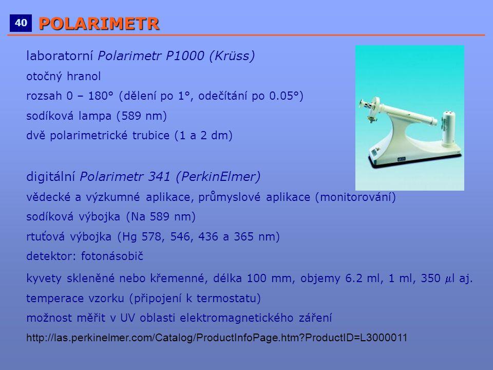 laboratorní Polarimetr P1000 (Krüss) otočný hranol rozsah 0 – 180° (dělení po 1°, odečítání po 0.05°) sodíková lampa (589 nm) dvě polarimetrické trubi