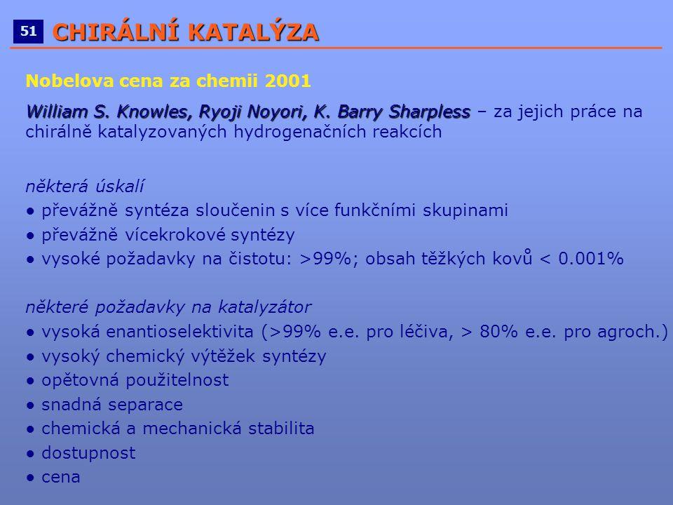 ____________________________________________________ 51 CHIRÁLNÍ KATALÝZA Nobelova cena za chemii 2001 William S. Knowles, Ryoji Noyori, K. Barry Shar