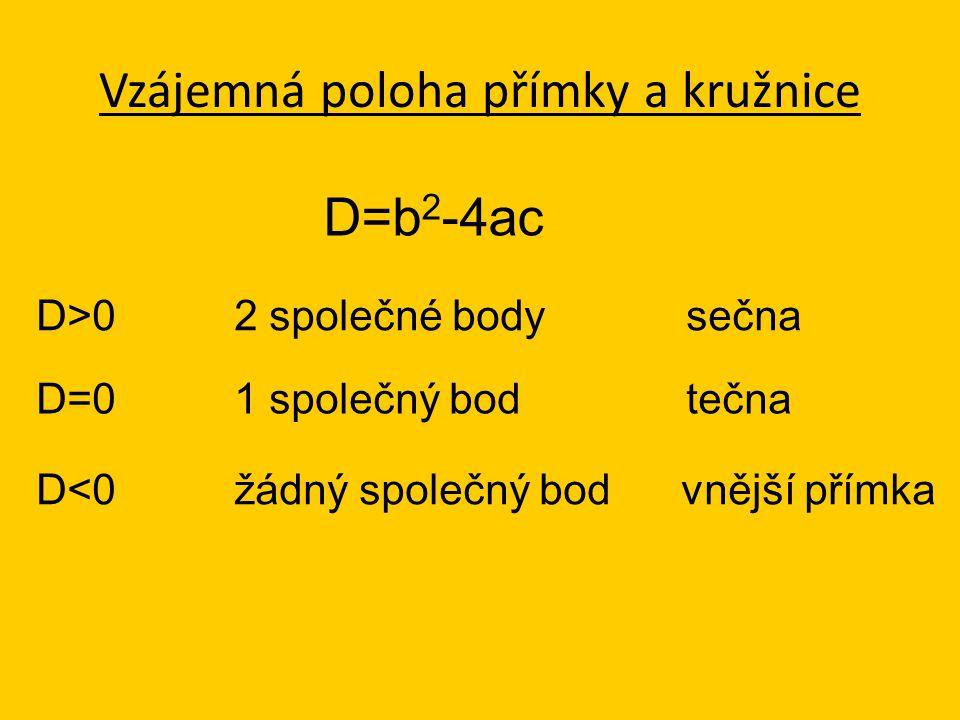 Vzájemná poloha přímky a kružnice D=b 2 -4ac D<0 žádný společný bod vnější přímka D=0 1 společný bod tečna D>0 2 společné body sečna