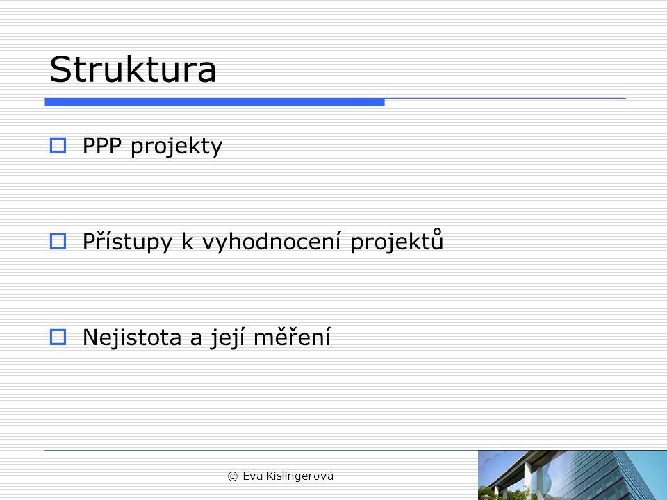 © Eva Kislingerová Struktura  PPP projekty  Přístupy k vyhodnocení projektů  Nejistota a její měření