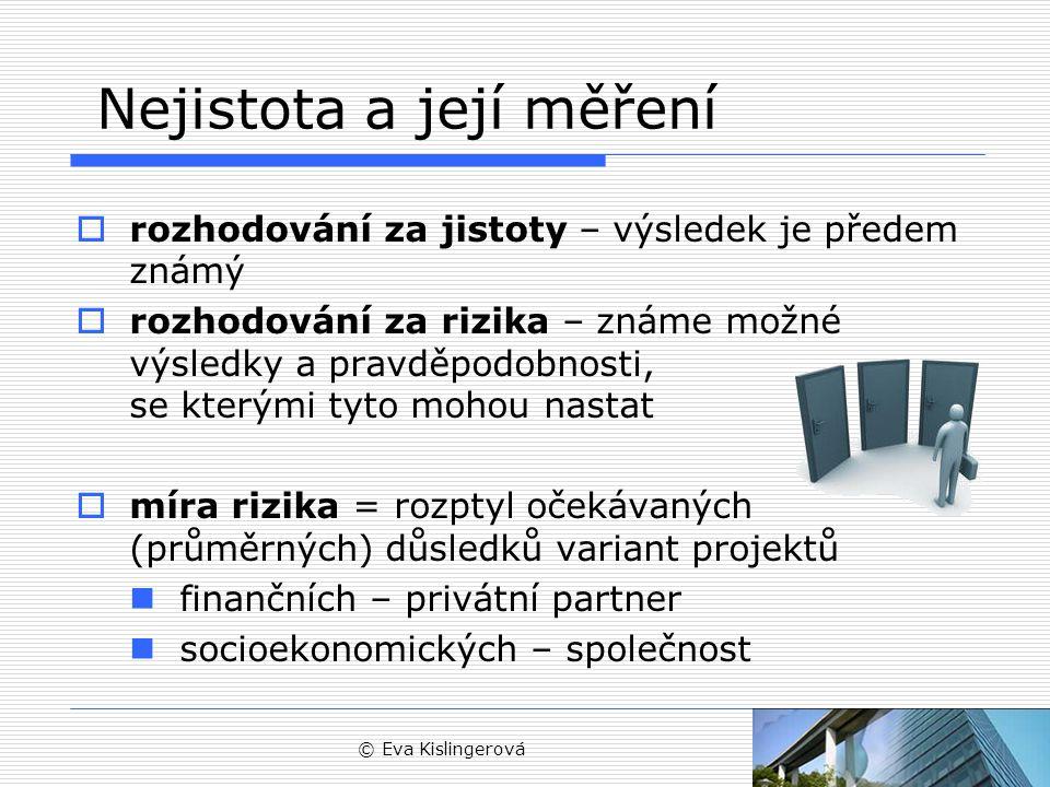 © Eva Kislingerová Přístup k riziku 1/3 Má míra rizika vliv na hodnotu projektu.