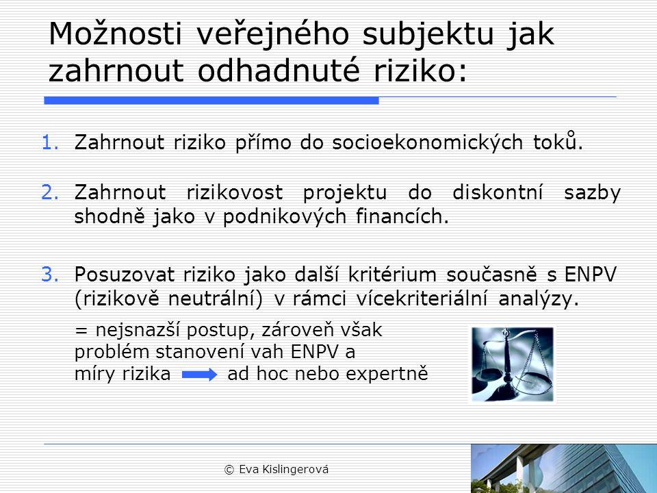 © Eva Kislingerová Možnosti veřejného subjektu jak zahrnout odhadnuté riziko: 1.Zahrnout riziko přímo do socioekonomických toků.