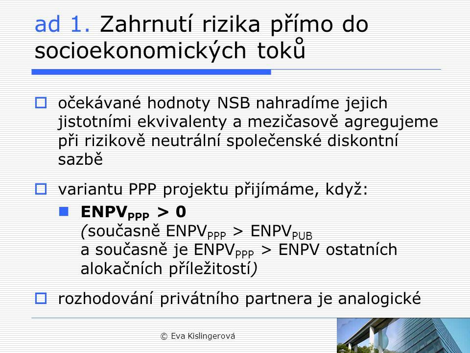 © Eva Kislingerová Posouzení PPP varianty z hlediska fiskálního dopadu  pomocí ukazatele FNPV/K PUB lze sekundárně porovnat projekty s obdobnou ENPV projekt, který nejméně zatíží veřejné finance  problém se znaménkem hotovostních toků (většinou záporné) – zvýšená diskontní sazba o riziko zlepšuje záporné finanční toky a vede k preferenci nejistých projektů  doporučuje se proto využít spíše jistotních ekvivalentů nebo vícekriteriální analýzy