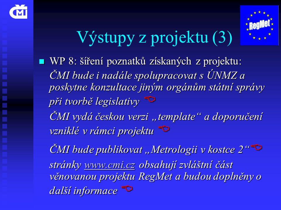 Výstupy z projektu (3)  WP 8: šíření poznatků získaných z projektu: ČMI bude i nadále spolupracovat s ÚNMZ a poskytne konzultace jiným orgánům státní