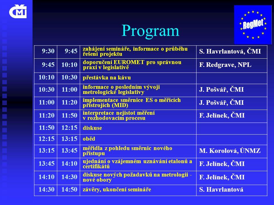 Program 9:309:45 zahájení semináře, informace o průběhu řešení projektu S. Havrlantová, ČMI 9:4510:10 doporučení EUROMET pro správnou praxi v legislat