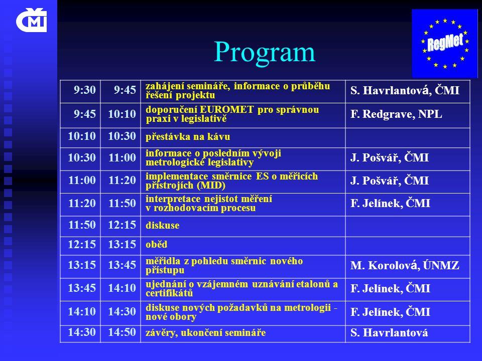Program 9:309:45 zahájení semináře, informace o průběhu řešení projektu S. Havrlantov á, ČMI 9:4510:10 doporučení EUROMET pro správnou praxi v legisla