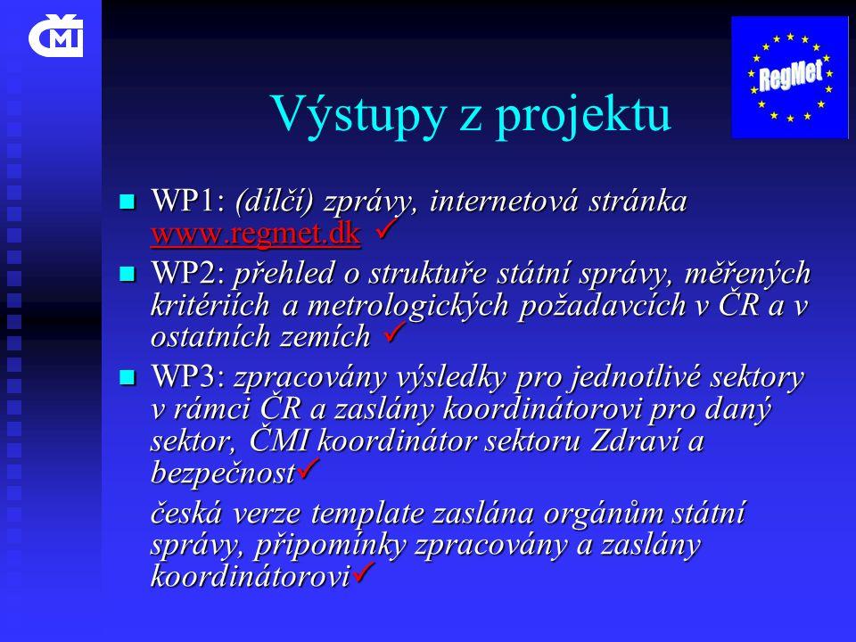 Výstupy z projektu  WP1: (dílčí) zprávy, internetová stránka www.regmet.dk   WP2: přehled o struktuře státní správy, měřených kritériích a metrolog