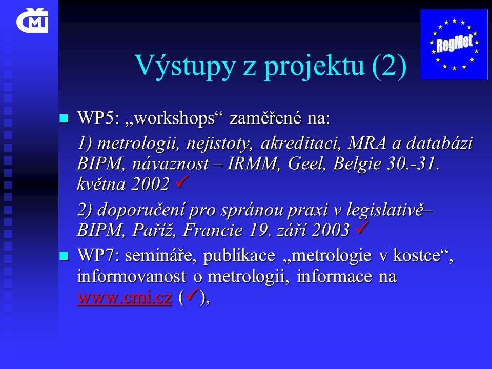 """Výstupy z projektu (2)  WP5: """"workshops zaměřené na: 1) metrologii, nejistoty, akreditaci, MRA a databázi BIPM, návaznost – IRMM, Geel, Belgie 30.-31."""