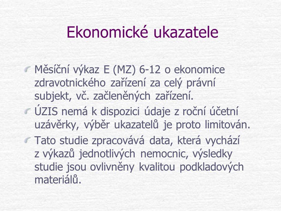Ekonomické ukazatele Měsíční výkaz E (MZ) 6-12 o ekonomice zdravotnického zařízení za celý právní subjekt, vč. začleněných zařízení. ÚZIS nemá k dispo