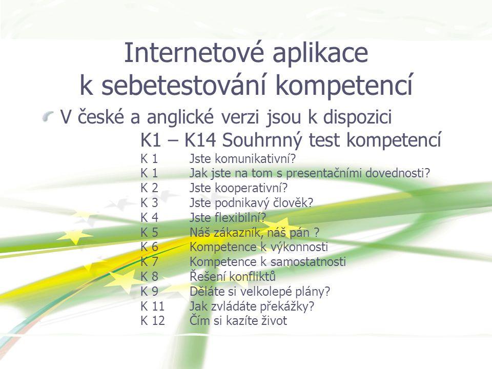 Internetové aplikace k sebetestování kompetencí V české a anglické verzi jsou k dispozici K1 – K14 Souhrnný test kompetencí K 1Jste komunikativní.