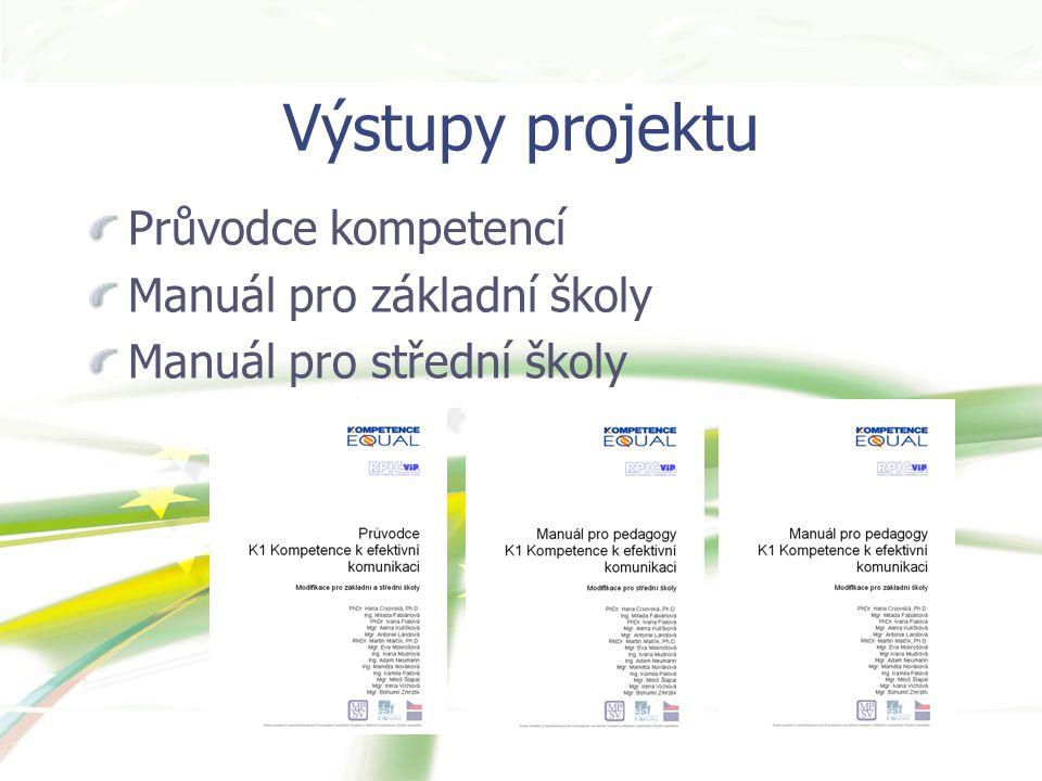 Výstupy projektu Průvodce kompetencí Manuál pro základní školy Manuál pro střední školy