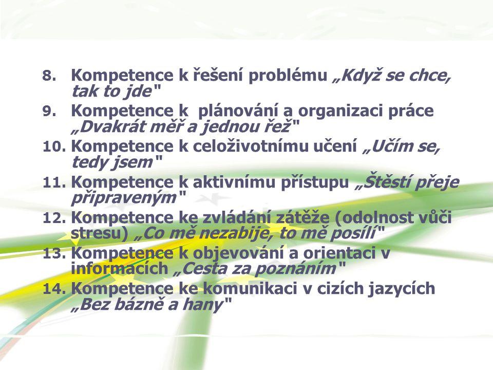 """8. Kompetence k řešení problému """"Když se chce, tak to jde 9."""