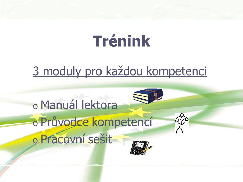 Trénink 3 moduly pro každou kompetenci o Manuál lektora o Průvodce kompetencí o Pracovní sešit