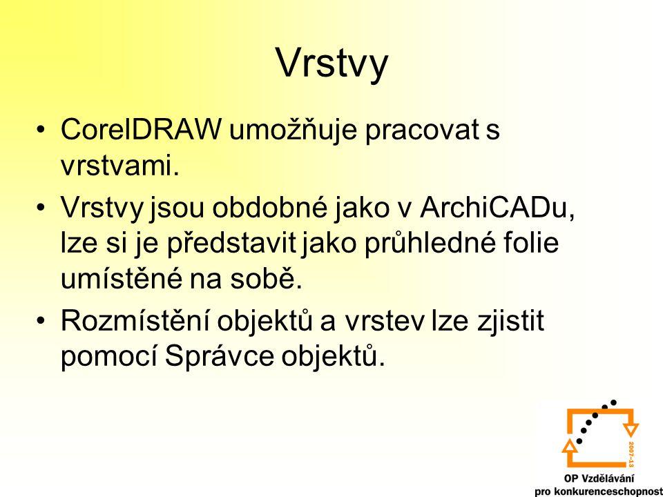 Vrstvy •CorelDRAW umožňuje pracovat s vrstvami.