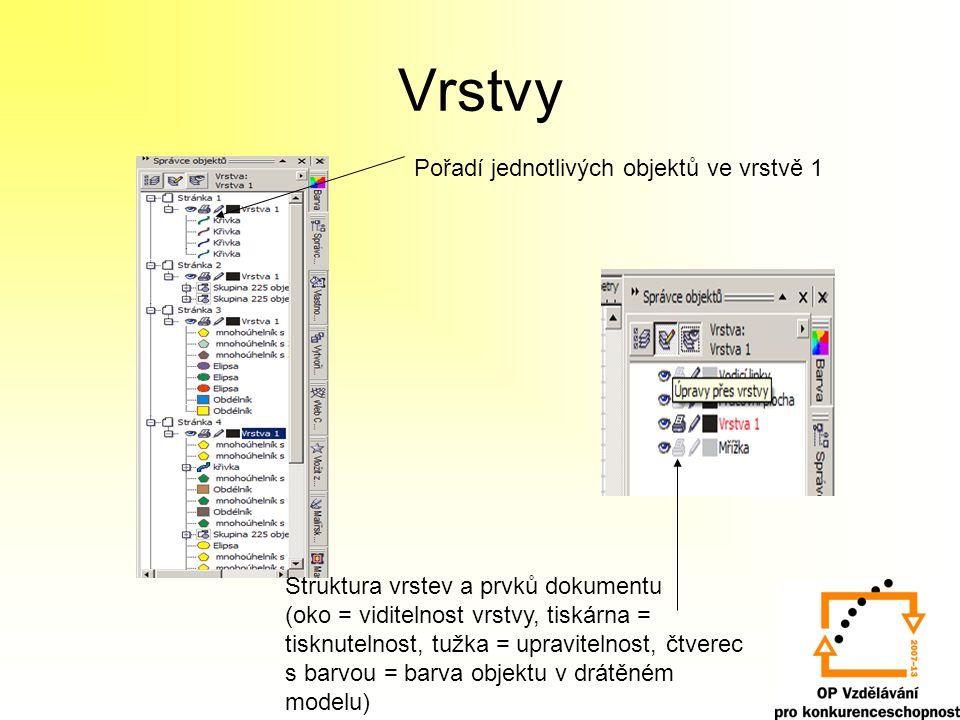 Vrstvy Pořadí jednotlivých objektů ve vrstvě 1 Struktura vrstev a prvků dokumentu (oko = viditelnost vrstvy, tiskárna = tisknutelnost, tužka = upravitelnost, čtverec s barvou = barva objektu v drátěném modelu)