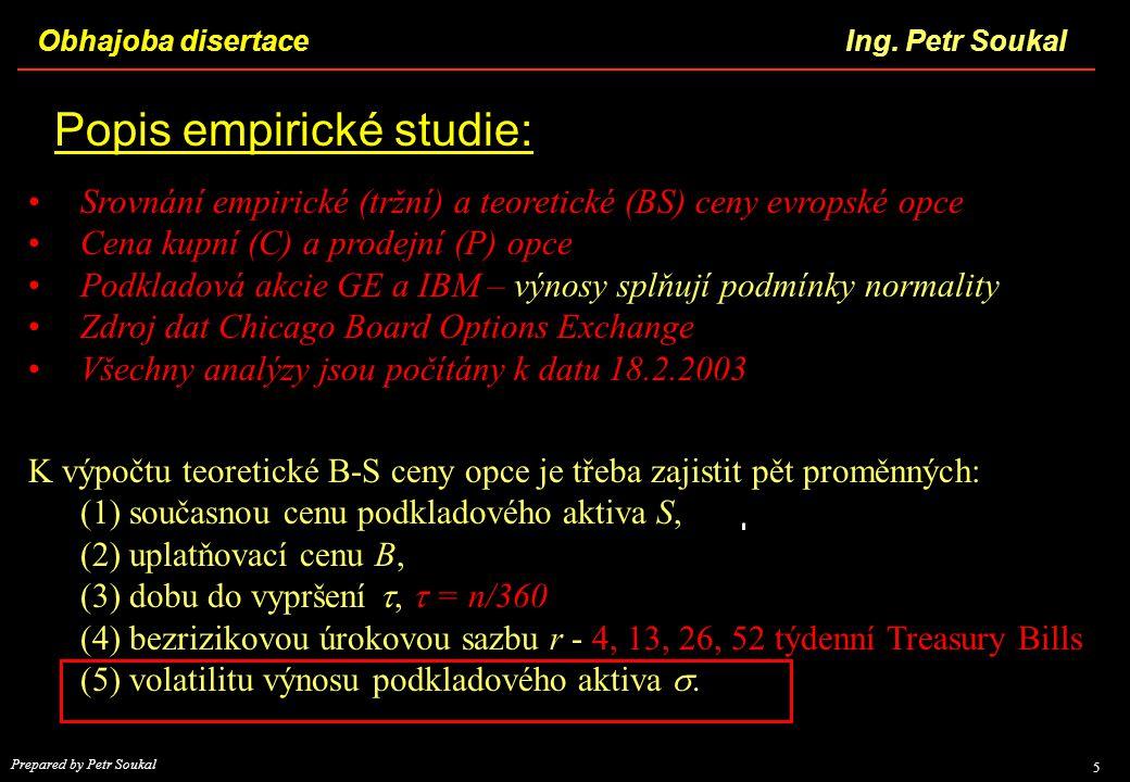 Obhajoba disertace 5 Ing. Petr Soukal Prepared by Petr Soukal Popis empirické studie: K výpočtu teoretické B-S ceny opce je třeba zajistit pět proměnn