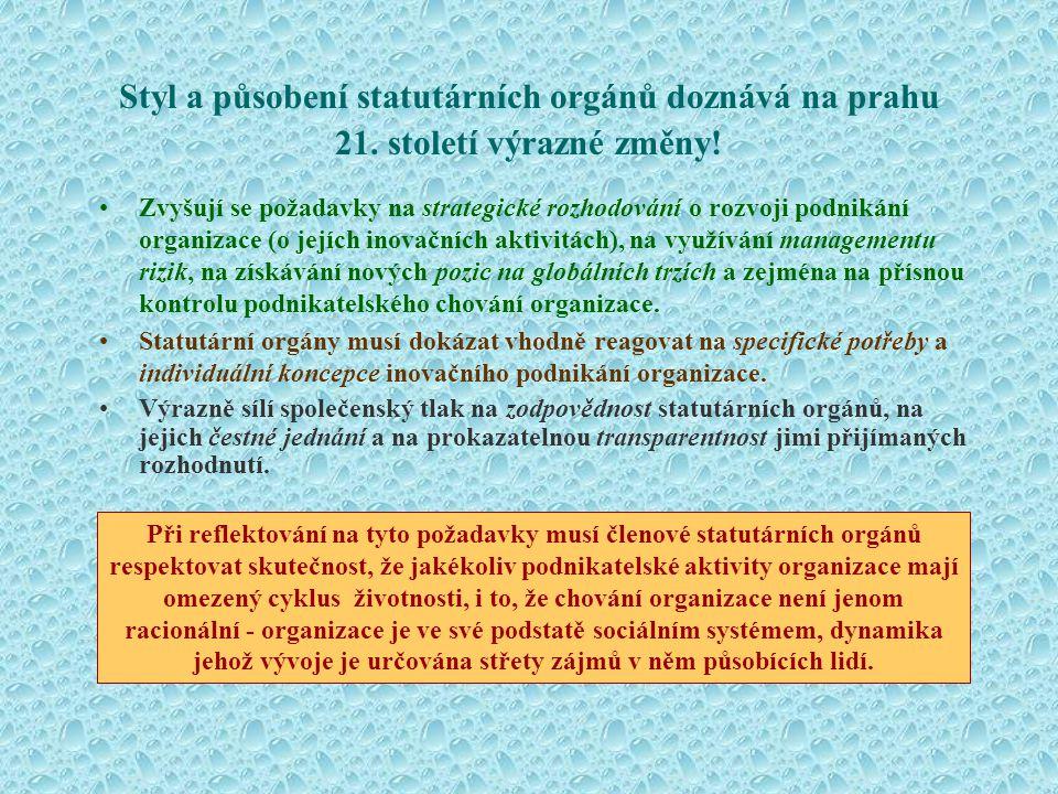 Čtyři základní úkoly statutárního orgánu Podle Standards for the Board, Institute of Directors, 1995 •Formulovat dlouhodobou vizi podnikání organizace.