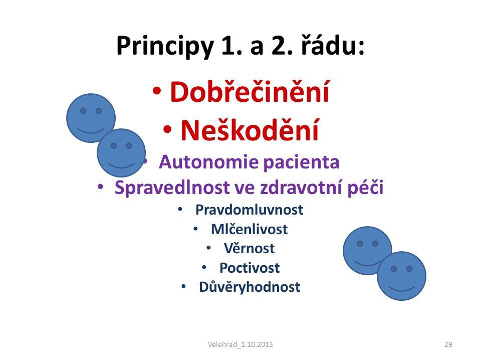 Velehrad_1.10.201329 Principy 1. a 2. řádu: • Dobřečinění • Neškodění • Autonomie pacienta • Spravedlnost ve zdravotní péči • Pravdomluvnost • Mlčenli