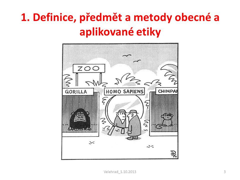 Velehrad_1.10.201314 Dělení etiky Z předmětu zájmu etiky vyplývá její základní dělení:  Metaetika  Etika deskriptivní  Etika preskriptivní (normativní) -------------------------------------------------------------- Etické otázky: • Jaký je smysl mého jednání.