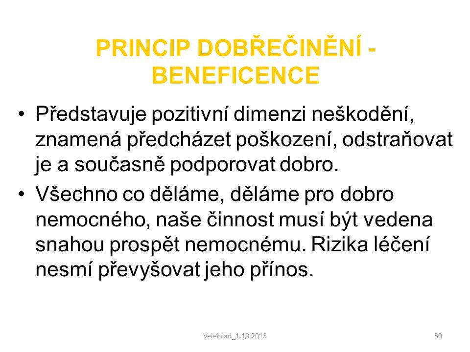 Velehrad_1.10.201330 PRINCIP DOBŘEČINĚNÍ - BENEFICENCE •Představuje pozitivní dimenzi neškodění, znamená předcházet poškození, odstraňovat je a součas