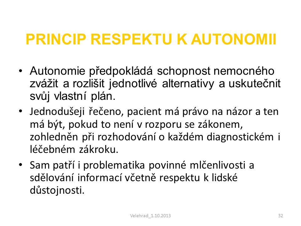 Velehrad_1.10.201332 PRINCIP RESPEKTU K AUTONOMII •Autonomie předpokládá schopnost nemocného zvážit a rozlišit jednotlivé alternativy a uskutečnit svů