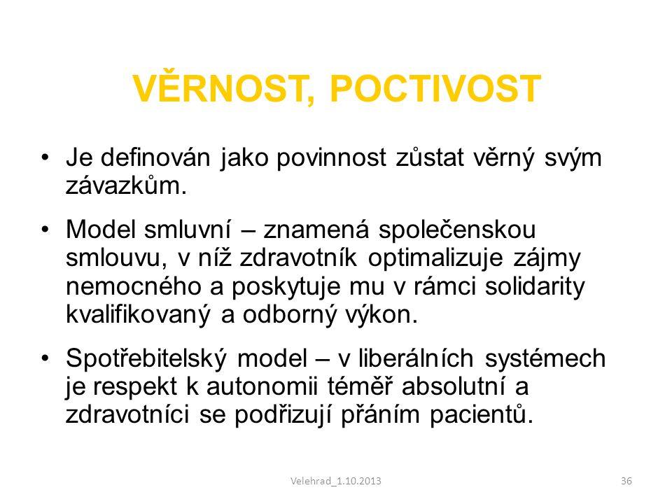 Velehrad_1.10.201336 VĚRNOST, POCTIVOST •Je definován jako povinnost zůstat věrný svým závazkům. •Model smluvní – znamená společenskou smlouvu, v níž