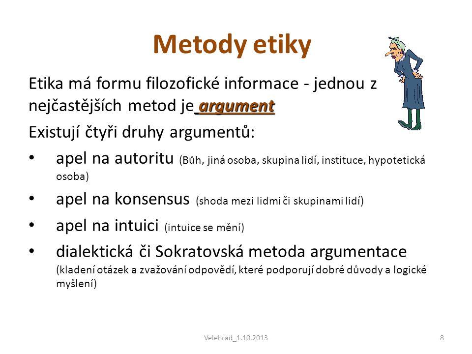 argument Etika má formu filozofické informace - jednou z nejčastějších metod je argument Existují čtyři druhy argumentů: • apel na autoritu (Bůh, jiná