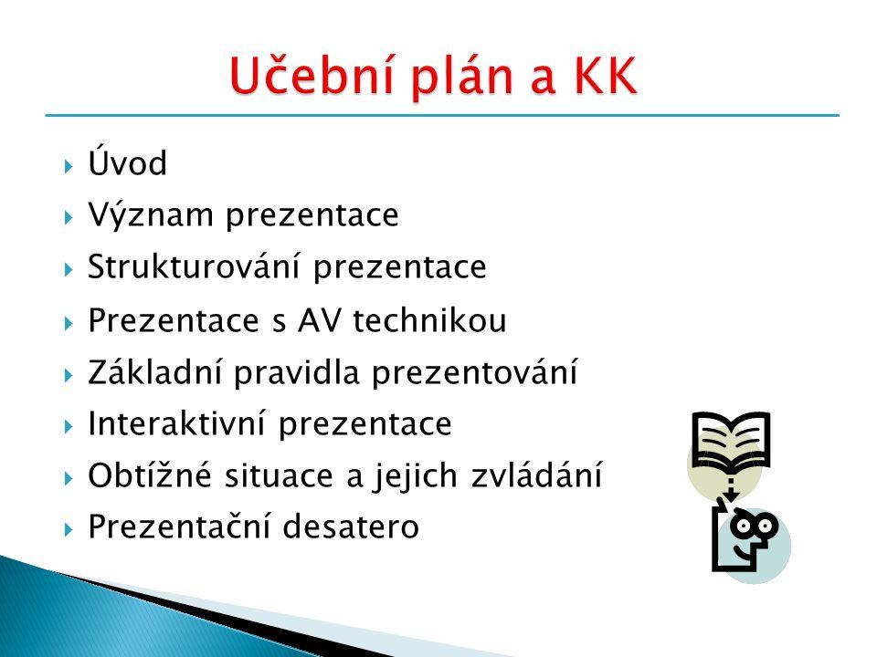  Úvod  Význam prezentace  Strukturování prezentace  Prezentace s AV technikou  Základní pravidla prezentování  Interaktivní prezentace  Obtížné