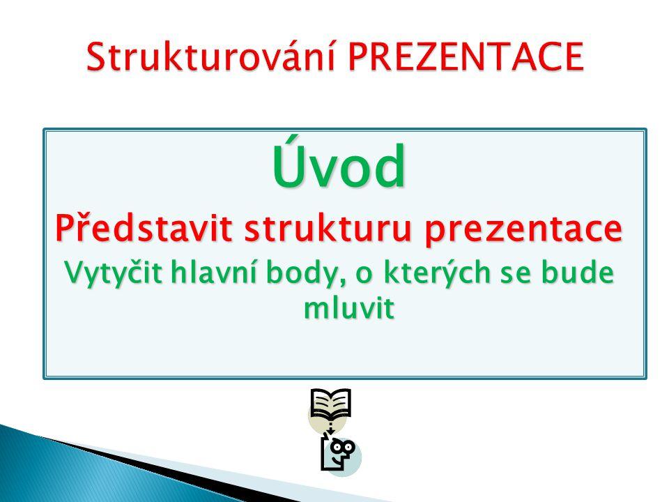 Úvod Představit strukturu prezentace Vytyčit hlavní body, o kterých se bude mluvit