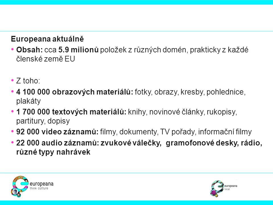 Europeana aktuálně • Obsah: cca 5.9 milionů položek z různých domén, prakticky z každé členské země EU • Z toho: • 4 100 000 obrazových materiálů: fot