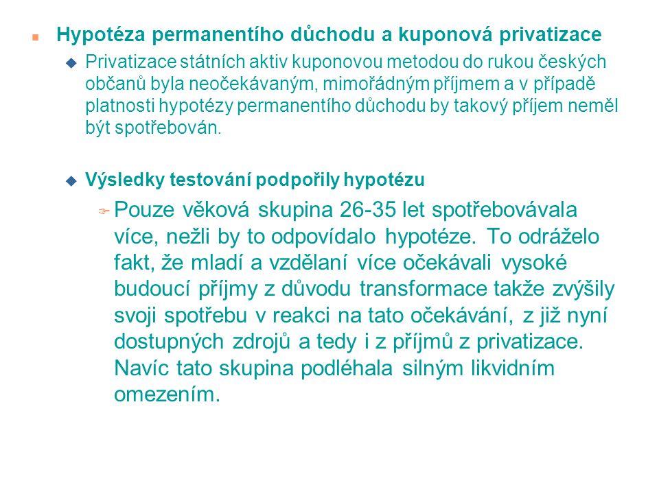 n Hypotéza permanentího důchodu a kuponová privatizace u Privatizace státních aktiv kuponovou metodou do rukou českých občanů byla neočekávaným, mimoř