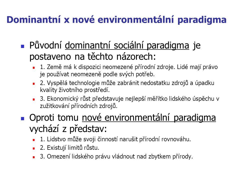 Dominantní x nové environmentální paradigma  Původní dominantní sociální paradigma je postaveno na těchto názorech:  1. Země má k dispozici neomezen
