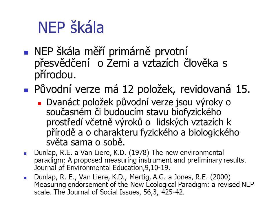 NEP škála  NEP škála měří primárně prvotní přesvědčení o Zemi a vztazích člověka s přírodou.  Původní verze má 12 položek, revidovaná 15.  Dvanáct