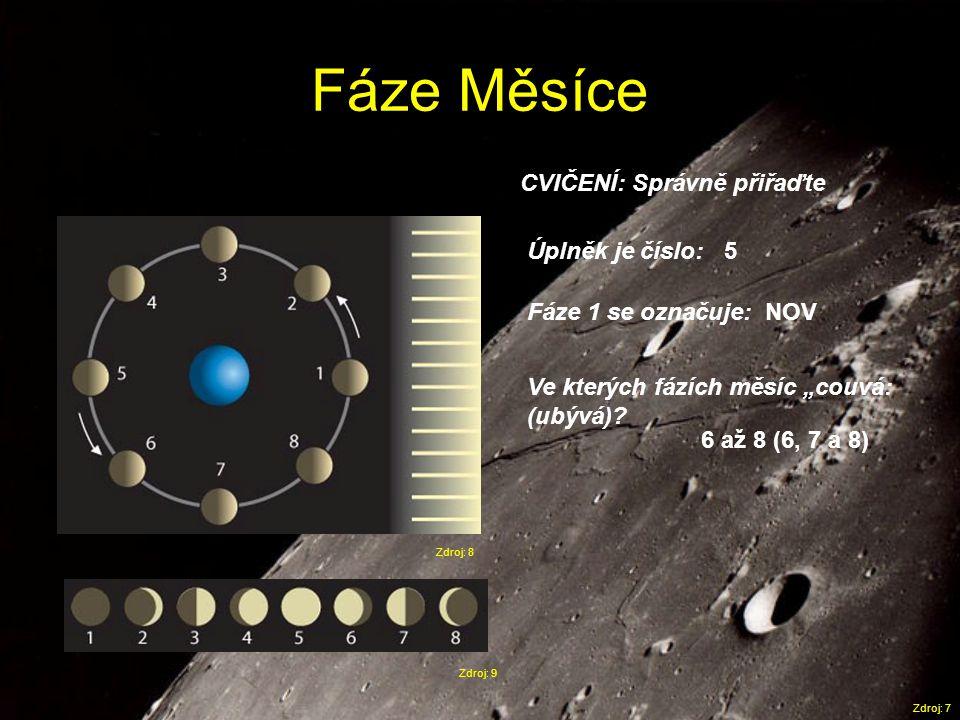 """Fáze Měsíce Zdroj: 8 Zdroj: 9 Zdroj: 7 CVIČENÍ: Správně přiřaďte Úplněk je číslo: Fáze 1 se označuje: Ve kterých fázích měsíc """"couvá: (ubývá)? 5 NOV 6"""