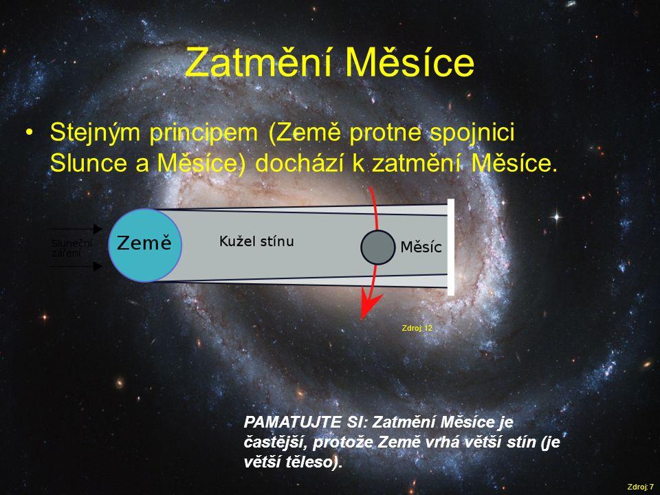 Zatmění Měsíce Zdroj: 7 •Stejným principem (Země protne spojnici Slunce a Měsíce) dochází k zatmění Měsíce. PAMATUJTE SI: Zatmění Měsíce je častější,