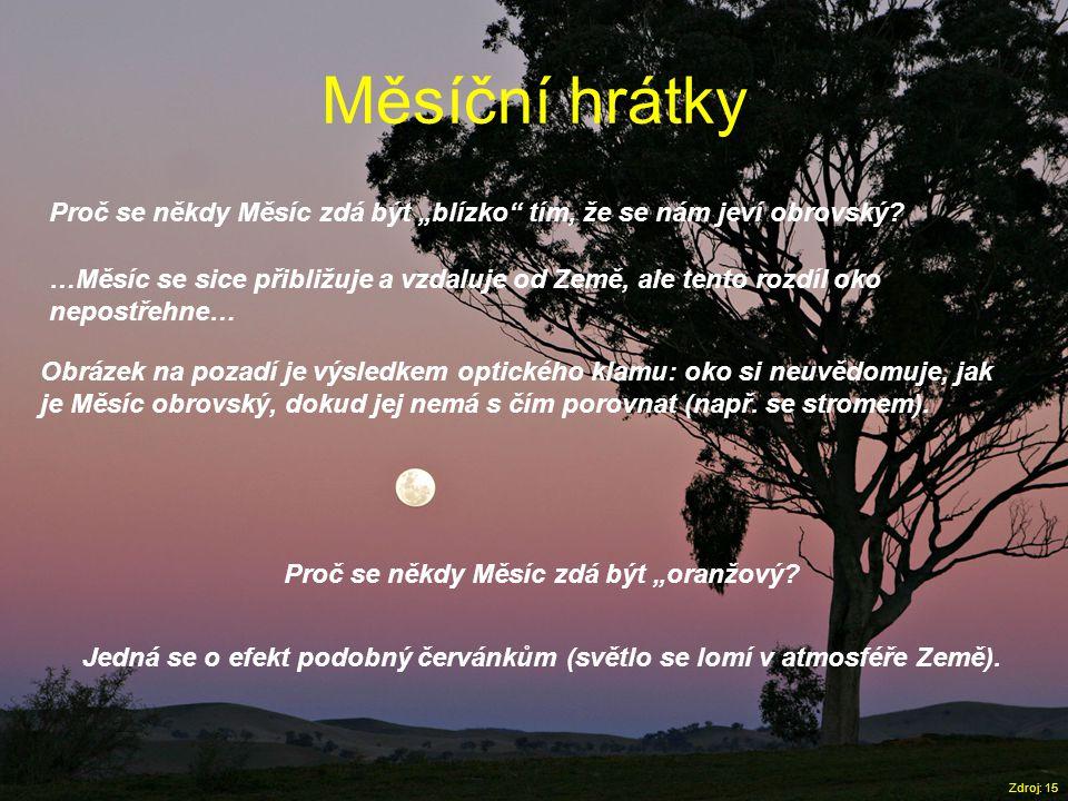 """Měsíční hrátky Zdroj: 15 Proč se někdy Měsíc zdá být """"blízko"""" tím, že se nám jeví obrovský? …Měsíc se sice přibližuje a vzdaluje od Země, ale tento ro"""