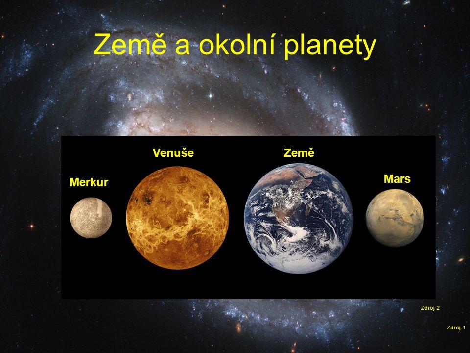 Země a okolní planety Zdroj: 1 Merkur Venuše Mars Země Zdroj: 2