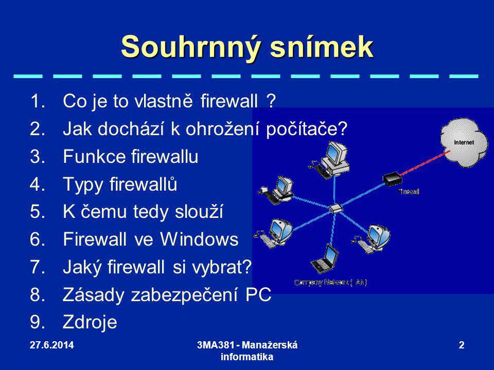 27.6.20143MA381 - Manažerská informatika 2 Souhrnný snímek 1.Co je to vlastně firewall ? 2.Jak dochází k ohrožení počítače? 3.Funkce firewallu 4.Typy