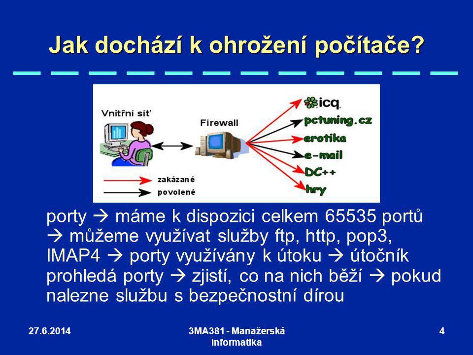 27.6.20143MA381 - Manažerská informatika 4 Jak dochází k ohrožení počítače? porty  máme k dispozici celkem 65535 portů  můžeme využívat služby ftp,