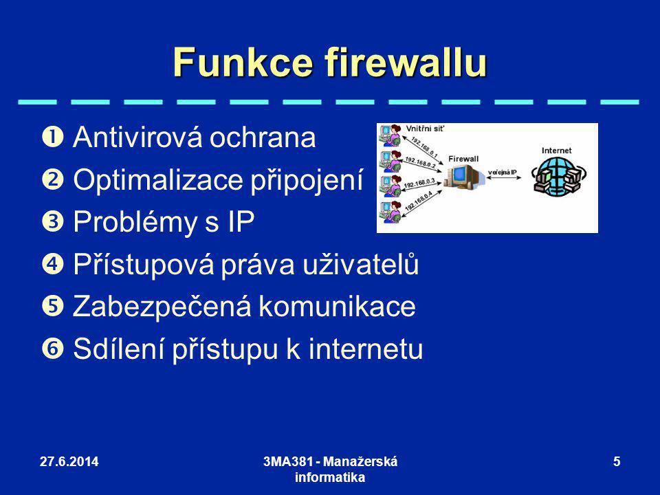 27.6.20143MA381 - Manažerská informatika 5 Funkce firewallu  Antivirová ochrana  Optimalizace připojení  Problémy s IP  Přístupová práva uživatelů