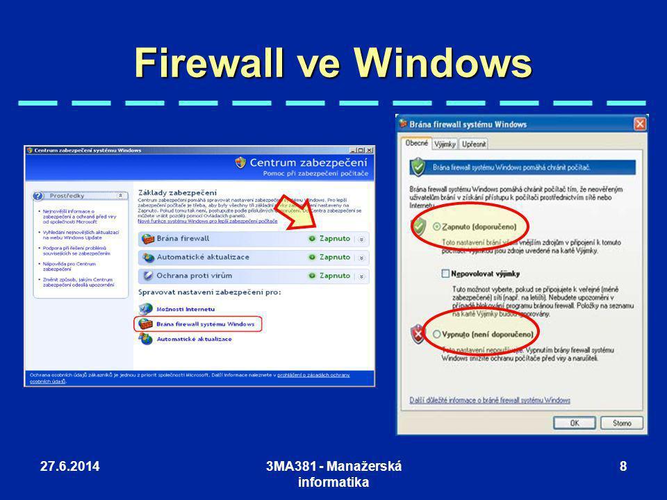 27.6.20143MA381 - Manažerská informatika 8 Firewall ve Windows