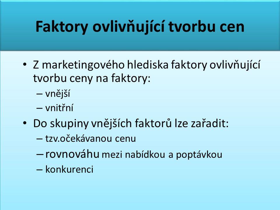 Faktory ovlivňující tvorbu cen • Z marketingového hlediska faktory ovlivňující tvorbu ceny na faktory: – vnější – vnitřní • Do skupiny vnějších faktor
