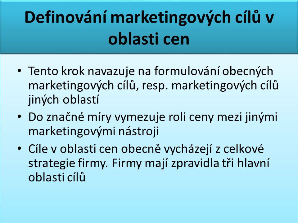 Definování marketingových cílů v oblasti cen • Tento krok navazuje na formulování obecných marketingových cílů, resp. marketingových cílů jiných oblas