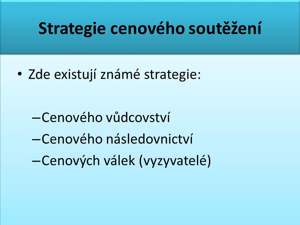Strategie cenového soutěžení • Zde existují známé strategie: – Cenového vůdcovství – Cenového následovnictví – Cenových válek (vyzyvatelé)