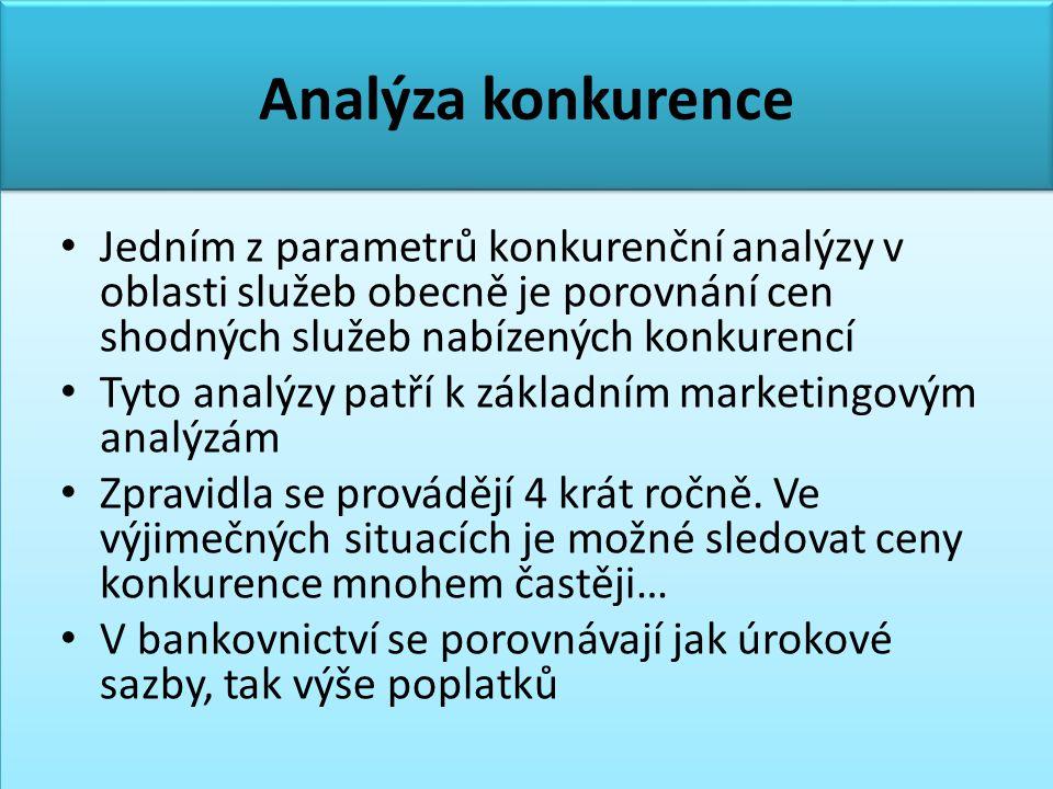 Analýza konkurence • Jedním z parametrů konkurenční analýzy v oblasti služeb obecně je porovnání cen shodných služeb nabízených konkurencí • Tyto analýzy patří k základním marketingovým analýzám • Zpravidla se provádějí 4 krát ročně.