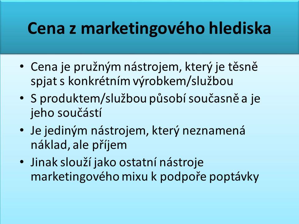 Cena z marketingového hlediska • Cena je pružným nástrojem, který je těsně spjat s konkrétním výrobkem/službou • S produktem/službou působí současně a je jeho součástí • Je jediným nástrojem, který neznamená náklad, ale příjem • Jinak slouží jako ostatní nástroje marketingového mixu k podpoře poptávky