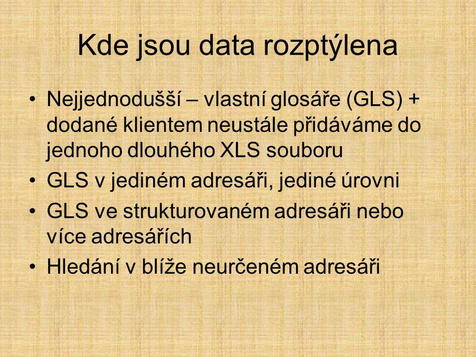 Kde jsou data rozptýlena •Nejjednodušší – vlastní glosáře (GLS) + dodané klientem neustále přidáváme do jednoho dlouhého XLS souboru •GLS v jediném adresáři, jediné úrovni •GLS ve strukturovaném adresáři nebo více adresářích •Hledání v blíže neurčeném adresáři